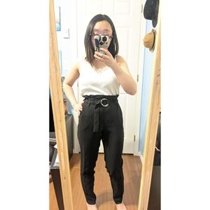 Dynamite Black Paperbag Belted Trousers